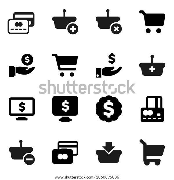 Flat vector icon set - cart vector, credit card, investment, dollar medal, monitor, basket