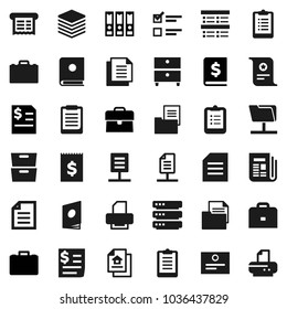 Flat vector icon set - case vector, clipboard, certificate, document, archive, exam, annual report, binder, receipt, newspaper, network folder, big data, estate, catalog, printer