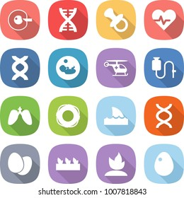 flat vector icon set - cell corection vector, dna, nipple, heart pulse, pregnancy, ambulance helicopter, dropper, lungs, lifebuoy, shark flipper, eggs, seedling, sprouting, egg