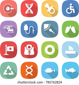 flat vector icon set - cell corection vector, dna, nipple, disability, ambulance helicopter, dropper, sperm, lungs, medical flag, life vest, lifebuoy, shark flipper, recycle, fish