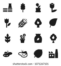Flat vector icon set - cereal vector, leaf, cereals, tulip, pond, fruit tree, flower in pot, factory
