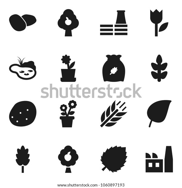 Flat vector icon set - cereal vector, potato, leaf, cereals, tulip, pond, fruit tree, flower in pot, factory