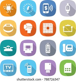 flat vector icon set - chip vector, lightning, phone pay, smart watch, bracelet, virtual mask, cpu, electrostatic, scales, atm, remote control, intercome, tv, mobile, usb flash, sim card