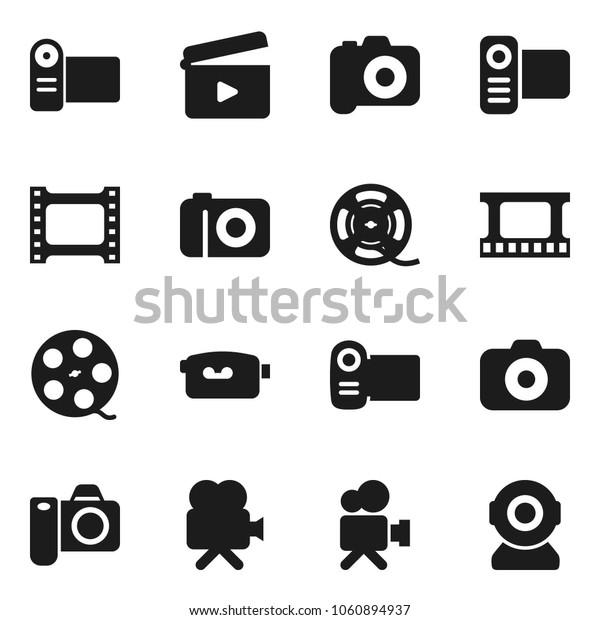 Flat vector icon set - cinema clap vector, film frame, spool, camera, video, web