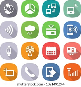 flat vector icon set - circle diagram vector, notebook connect, wireless, cloud, tap to pay, phone, smart watch, antenna, calendar, trailer, laptop wifi, touchscreen, signal