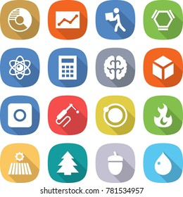 flat vector icon set - circle diagram vector, statistics, courier, hex molecule, atom, calculator, brain, 3d, ring button, welding, orbit, fire, field, spruce, acorn, drop