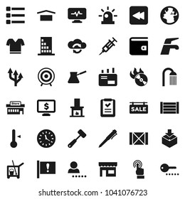Flat vector icon set - cleaner trolley vector, water tap, shower, meat hammer, turk coffee, thermometer, pen, wallet, monitor dollar, t shirt, target, earth, attention, clock, wood box, dry cargo