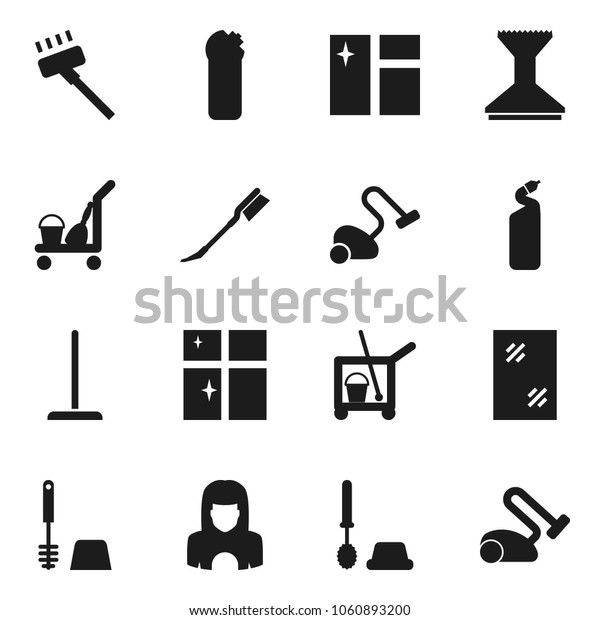 Flat vector icon set - cleaner trolley vector, vacuum, mop, car fetlock, window cleaning, toilet brush, agent, shining, woman
