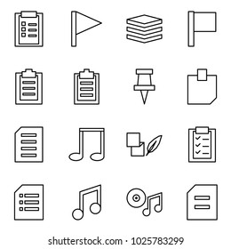 Flat vector icon set - clipboard vector, flag, data, drawing pin, sticker, document, note, notes, music, cd