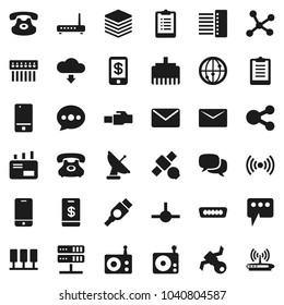 Flat vector icon set - clipboard vector, satellite, phone, radio, internet, mobile, dialog, classic, hdmi, connect, network, server, big data, hub, lan connector, share, message, cloud download
