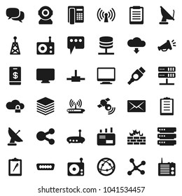Flat vector icon set - clipboard vector, radio, antenna, satellitie, internet, dialog, hdmi, connect, network, server, cloud lock, big data, firewall, router, share, message, download, mail, tap pay