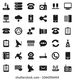 Flat vector icon set - clipboard vector, satellite, antenna, radio, internet, mobile phone, speaking man, classic, server, network, big data, firewall, hub, router, share, message, refresh, mail