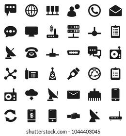 Flat vector icon set - clipboard vector, phone, satellite antenna, radio, internet, mobile, dialog, speaking man, mail, hdmi, connect, network, server, router, lan connector, message, refresh