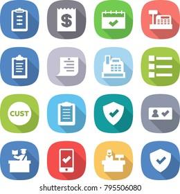 flat vector icon set - clipboard vector, receipt, calendar, cashbox, shopping list, customs, protected, check in, inspector, mobile checking, reception, shield