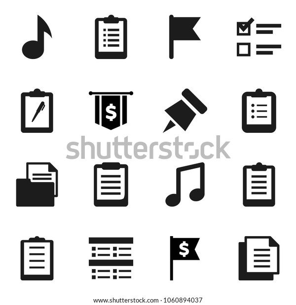 Flat vector icon set - clipboard vector, paper pin, music, flag, exam, dollar, document