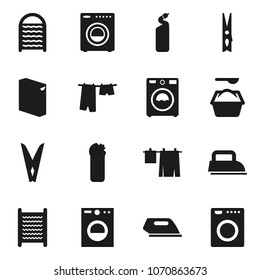 Flat vector icon set - clothespin vector, drying clothes, washer, washing powder, cleaning agent, washboard, iron