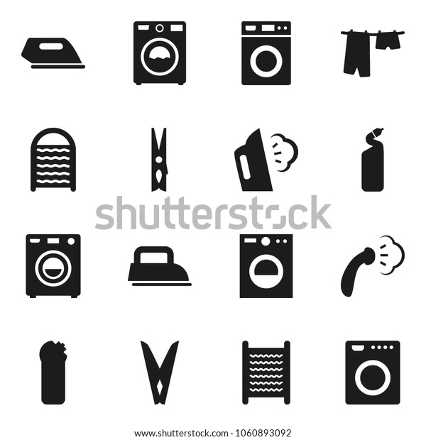 Flat vector icon set - clothespin vector, steaming, drying clothes, washer, cleaning agent, washboard, iron
