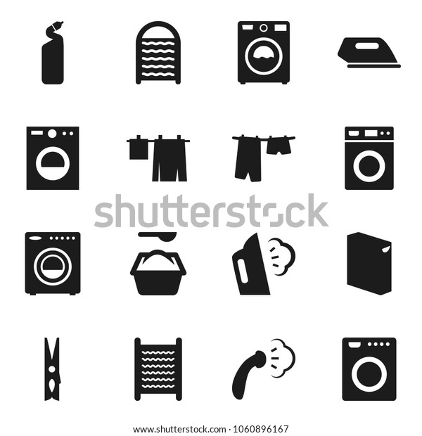 Flat vector icon set - clothespin vector, steaming, drying clothes, washer, washing powder, cleaning agent, washboard, iron