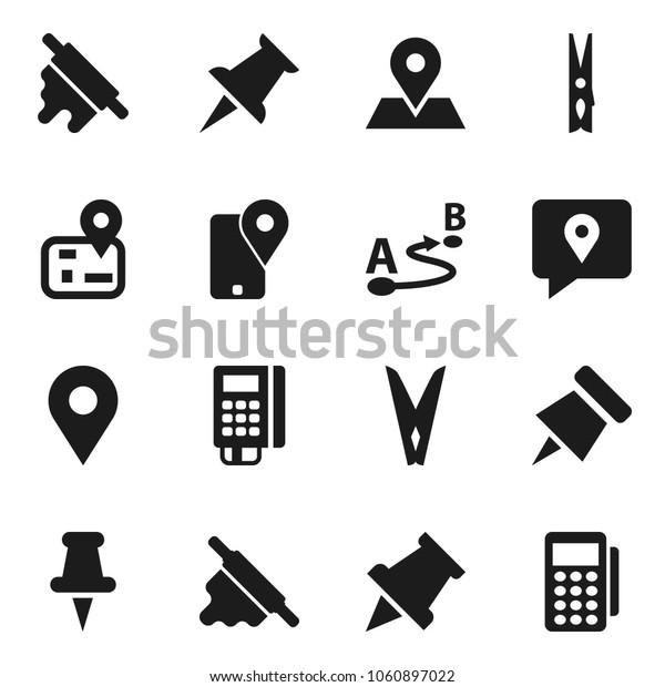 Flat vector icon set - clothespin vector, rolling pin, paper, navigator, map, traking, route, thumbtack, card reader