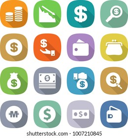flat vector icon set - coin stack vector, crisis, dollar, magnifier, investment, wallet, purse, money bag, gift, arrow, crypto currency