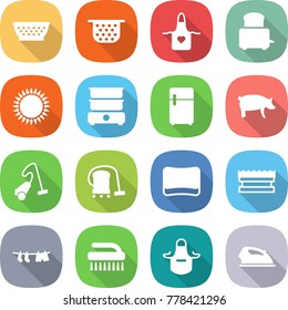 flat vector icon set - colander vector, apron, toaster, gas oven, double boiler, fridge, pig, vacuum cleaner, sponge, drying clothes, brush, iron