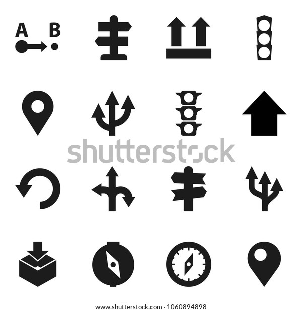Flat vector icon set - compass vector, arrow up, route, signpost, traffic light, top sign, package, undo, pin