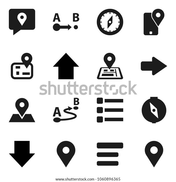 Flat vector icon set - compass vector, arrow down, up, navigator, map pin, traking, route, menu