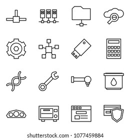 Flat vector icon set - connect vector, servers, share folder, cloud search, gear, network star, usb, calculator, dna, wrench, spherical bearing, oil filter, dashboard, oven, internet store