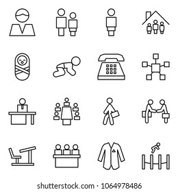 Flat vector icon set - consumer vector, man and woman, family home, baby, phone, network star, manger, meeting, manager, agreement, desk, lecture hall, jacket, trampoline