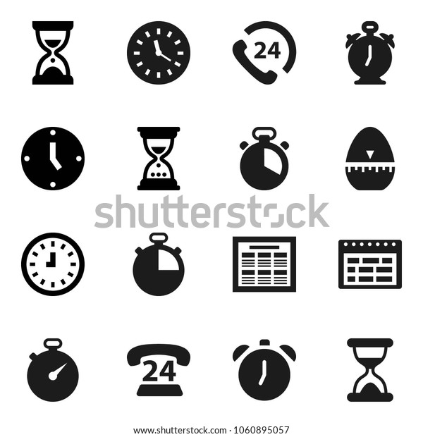 Flat vector icon set - cook timer vector, alarm clock, schedule, sand, stopwatch, phone 24