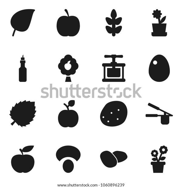Flat vector icon set - cook press vector, egg, mushroom, potato, oil, apple fruit, leaf, diet, cereals, tree, flower in pot