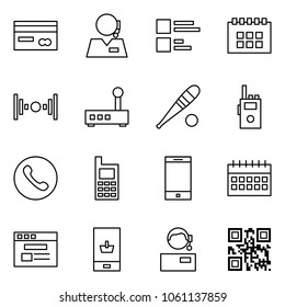 Flat vector icon set - credit card vector, support, comments, calendar, wireless, router, bat, walkie talkie, phone, mobile, internet store, shopping, qr code