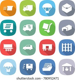 flat vector icon set - delivery vector, truck, parachute, box, cargo stoller, warehouse, shipping, car, railroad, pallet, fast deliver, cruise ship