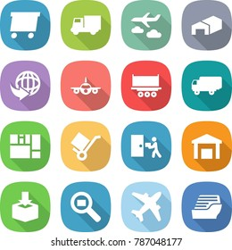 flat vector icon set - delivery vector, truck, journey, warehouse, plane, shipping, consolidated cargo, trolley, courier, package, search, airplane, cruise ship