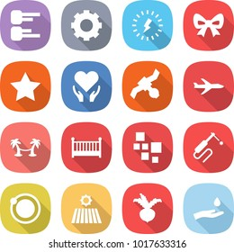 flat vector icon set - diagram vector, gear, lightning, bow, star, health care, satellite, plane, palm hammock, crib, blocks, welding, orbit, field, beet, hand and drop