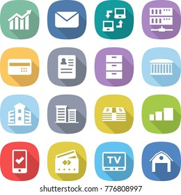 flat vector icon set - diagram vector, mail, notebook connect, server, credit card, anamnesis, archive, airport building, district, money, sorting, mobile checking, tv, barn