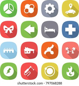 flat vector icon set - diagram vector, atom core, gear, car pointer, bow, left arrow, hospital bed, cross, bridge, house with garage, satellite, palm hammock, electricity, welding, orbit, fire