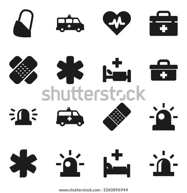 Flat vector icon set - doctor bag vector, ambulance star, heart pulse, patch, hospital bed, amkbulance car, bandage, siren