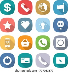flat vector icon set - dollar vector, phone, circle diagram, flag, star, heart, bulb, globe connect, wireless, remove from basket, ring button, on off, envelope, browser window