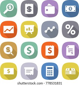 flat vector icon set - dollar magnifier vector, receipt, wallet, money, statistics, presentation, graph, percent, arrow, coin, account balance, atm, calculator