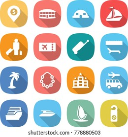 flat vector icon set - dollar pin vector, airport building, dome house, sail boat, passenger, ticket, suitcase, lounger, palm, hawaiian wreath, hotel, transfer, cruise ship, yacht, windsurfing