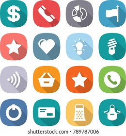 flat vector icon set - dollar vector, phone, circle diagram, flag, star, heart, bulb, wireless, remove from basket, on off button, envelope, grater, apron