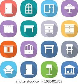 flat vector icon set - door vector, arch window, plan, restaurant, curtain, table, nightstand, chest of drawers, wardrobe, dresser, stool, chair, armchair, floor lamp, utility room