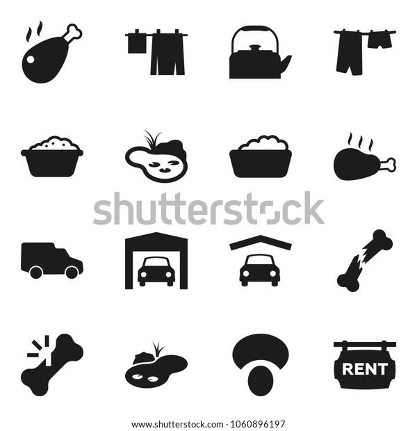 Flat vector icon set - drying clothes vector, foam basin, kettle, mushroom, chicken leg, car, broken bone, pond, garage, rent signboard