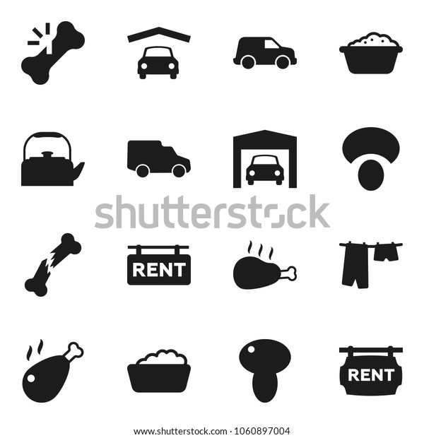 Flat vector icon set - drying clothes vector, foam basin, kettle, mushroom, chicken leg, car, broken bone, garage, rent signboard