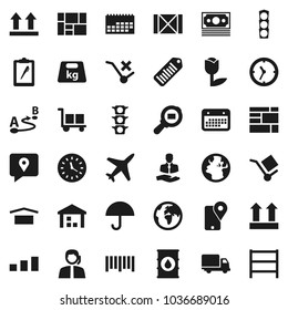 Flat vector icon set - earth vector, plane, money, traffic light, support, client, traking, delivery, clock, calendar, wood box, consolidated cargo, clipboard, umbrella, dry, top sign, no trolley