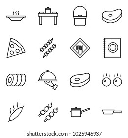 Flat vector icon set - eat vector, dinner table, pan, steak, pizza, kebab, cafe sign, menu, plates, waiter, meat, meatball, saute