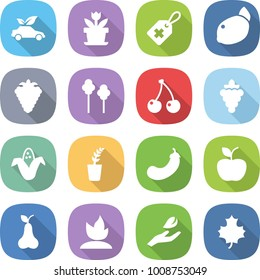 flat vector icon set - eco car vector, flower, medical label, lemon, berry, trees, cherry, grape, corn, seedling, eggplant, apple, pear, sprouting, hand leaf, maple