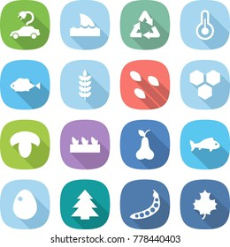 flat vector icon set - electric car vector, shark flipper, recycle, thermometer, fish, spike, seeds, honeycombs, mushroom, seedling, pear, egg, spruce, peas, maple leaf