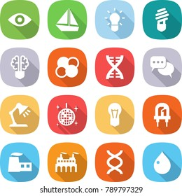 flat vector icon set - eye vector, boat, bulb, brain, atom core, dna, discussion, table lamp, disco ball, led, factory, drop